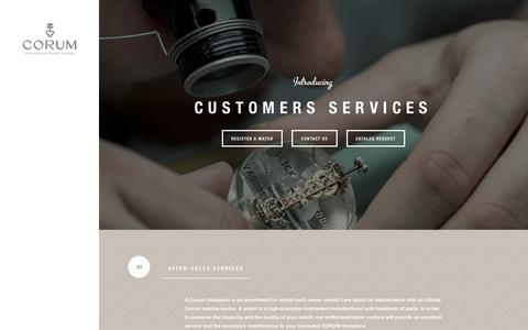 Screenshot of Contact Page corum.ch - CUSTOMERS SERVICES | CORUM - Official Website - captured Sept. 19, 2014