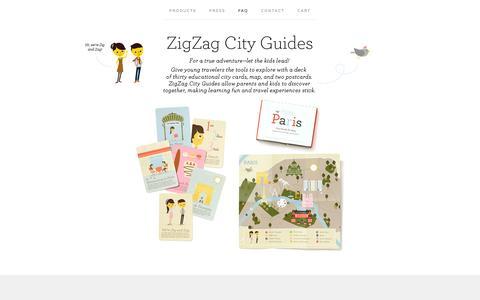 Screenshot of FAQ Page bigcartel.com - FAQ / ZigZag City Guides - captured Sept. 19, 2014