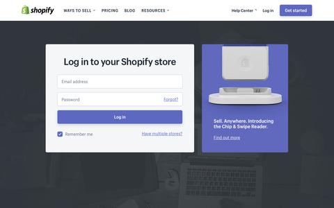 Screenshot of Login Page shopify.com - Login — Shopify - captured June 25, 2018