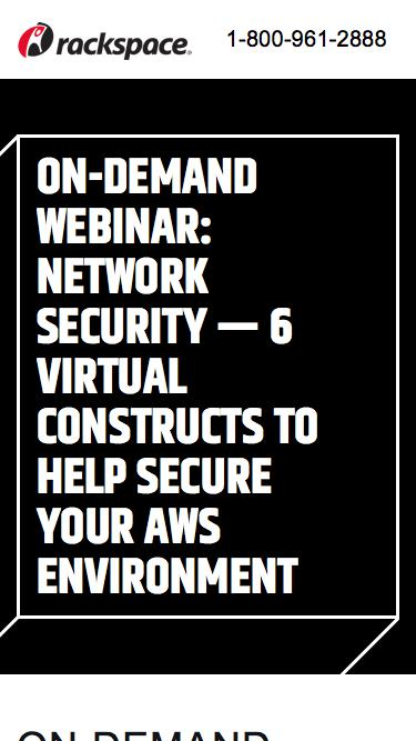 Screenshot of Landing Page  rackspace.com - Network Security — 6 Virtual Constructs to Help Secure Your AWS Environment