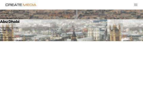 Screenshot of Contact Page createmedia-group.com - Contact | Create Media Group - captured Aug. 21, 2019