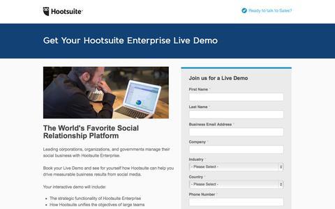 Screenshot of Landing Page hootsuite.com - Hootsuite Enterprise: Request a Demo - captured Oct. 27, 2014
