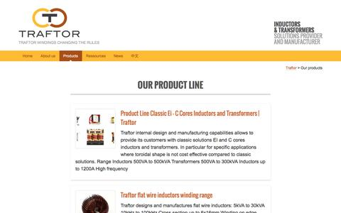 Screenshot of Products Page traftor.com - Our products - Traftor - captured Nov. 28, 2016