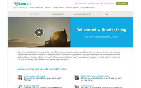Screenshot of sunrun.com - Solar Panel System Process: Start Going Solar with Sunrun - captured Feb. 2, 2017