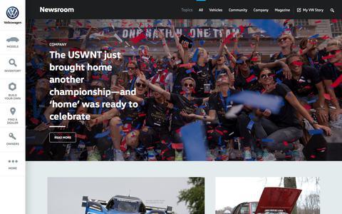 Screenshot of Press Page vw.com - Newsroom - captured Sept. 8, 2019