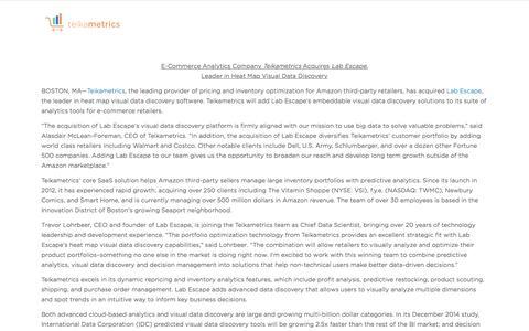 Screenshot of teikametrics.com - Teikametrics Acquires Lab Escape - captured Aug. 20, 2016