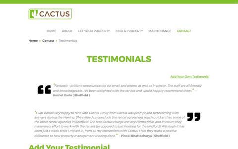 Screenshot of Testimonials Page cactusliving.co.uk - Contact Testimonials | Cactus Living - captured May 13, 2017