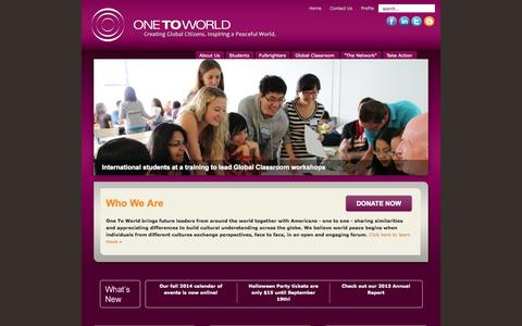 Screenshot of Menu Page one-to-world.org - One To World - Home - captured Oct. 26, 2014