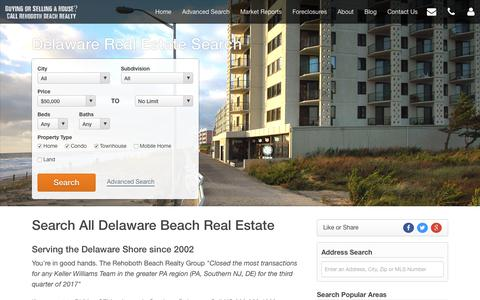 Screenshot of Home Page condosrehobothbeach.com - Rehoboth Beach Real Estate Search - Beach Homes for Sale - captured Oct. 21, 2018