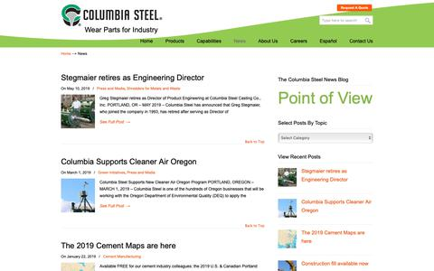 Screenshot of Press Page columbiasteel.com - News - Columbia Steel Casting Co., Inc. - captured June 16, 2019