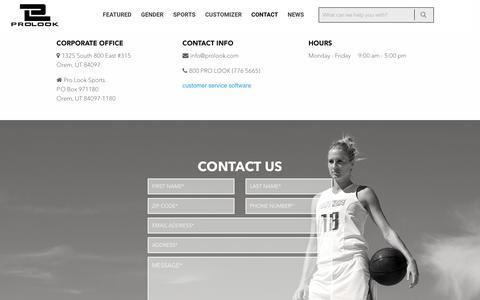 Screenshot of Contact Page prolook.com - Contact | ProLook Sports - captured Nov. 12, 2016