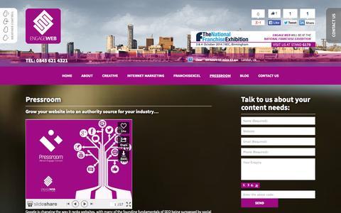 Screenshot of Press Page engageweb.co.uk - Pressroom   Engage Web - captured Sept. 23, 2014