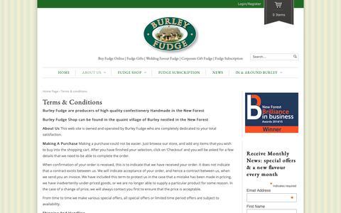 Screenshot of Terms Page burleyfudge.co.uk - Terms & Conditions | Burley Fudge Shop | Buy Fudge Online - captured Oct. 7, 2018