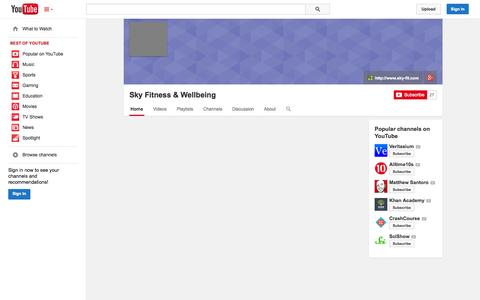 Screenshot of YouTube Page youtube.com - Sky Fitness & Wellbeing  - YouTube - captured Oct. 26, 2014