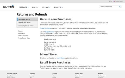 Returns and Refunds | Garmin, returns, refunds, policy | Garmin | United States