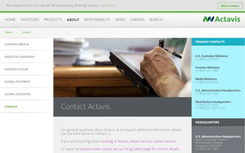 Screenshot of Contact Page actavis.com - Contact Actavis - Actavis - captured Sept. 23, 2014