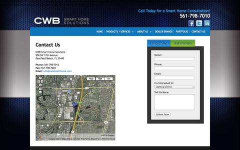 Screenshot of Contact Page cwbsmarthome.com - Contact Us | Smart Home Solutions | CWB - captured Oct. 27, 2014