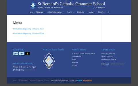 Screenshot of Menu Page st-bernards.slough.sch.uk - Menu | St Bernards Catholic Grammar School Slough - captured June 26, 2018