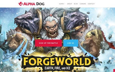 Screenshot of Home Page alphadoggames.com - Alpha Dog Games - captured Dec. 24, 2015