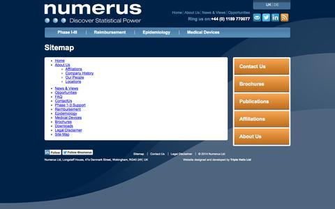 Screenshot of Site Map Page numerus-ltd.com - Site Map - Numerus Ltd - captured Oct. 9, 2014
