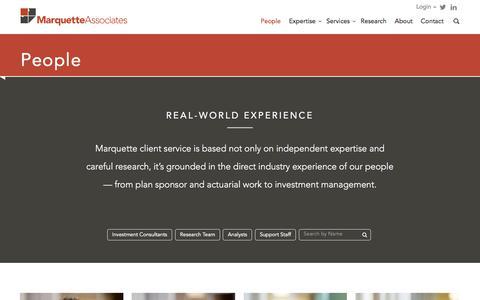 Screenshot of Team Page marquetteassociates.com - People - Marquette Associates - captured Sept. 20, 2018