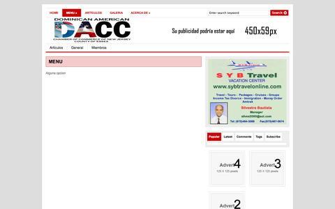Screenshot of Menu Page daccnj.org - DACC|  MENU - captured Oct. 5, 2014