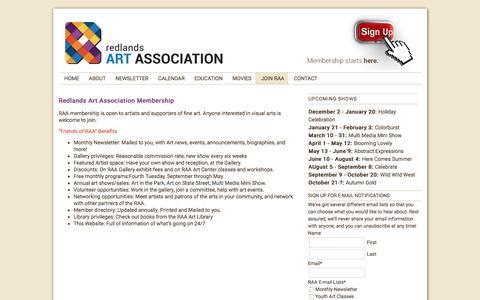 Screenshot of Signup Page redlands-art.org - Join RAA | Redlands Art Association - captured Dec. 13, 2016