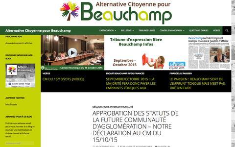 Screenshot of Home Page alternative-beauchamp.fr - Alternative Citoyenne pour Beauchamp - captured Oct. 16, 2015