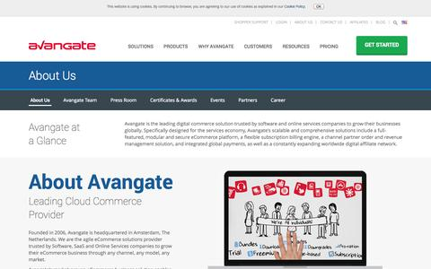 Screenshot of About Page avangate.com - International Commerce Provider for Software and Online Services Companies - captured Oct. 10, 2014