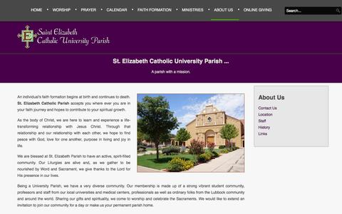 Screenshot of About Page stelizabethlubbock.com - About Us - St Elizabeth's Catholic Church - captured May 21, 2016