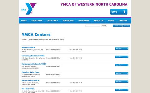 Screenshot of Locations Page ymcawnc.org - YMCA of Western North Carolina - captured Sept. 30, 2017