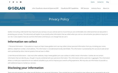 Screenshot of Privacy Page godlan.com - Privacy Policy | Godlan Consulting | ERP Software for Manufacturing | ERP System for Manufacturers - captured Nov. 10, 2019
