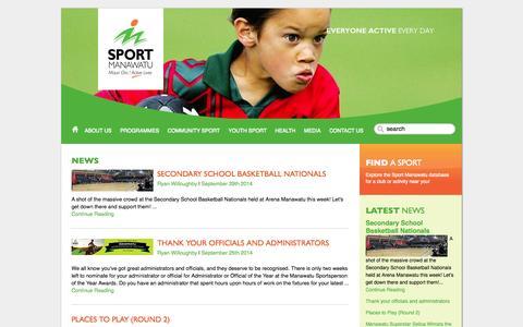 Screenshot of Press Page sportmanawatu.org.nz - Sport Manawatu - Everyone Active Everyday: SECONDARY SCHOOLS NEWS - captured Sept. 30, 2014