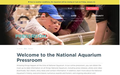 Screenshot of Press Page aqua.org - National Aquarium | Pressroom - captured Jan. 21, 2016