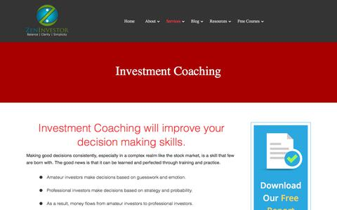 Screenshot of Services Page zeninvestor.org - Investment Coaching, Skill Training, Portfolio Strategy. - captured Aug. 24, 2017