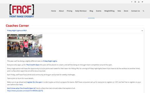 Screenshot of Blog frontrangecrossfit.com - Coaches Corner   Front Range CrossFit - captured Jan. 24, 2018