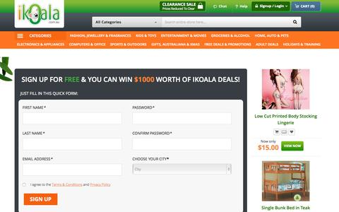 Screenshot of Signup Page ikoala.com.au - Create New Customer Account - captured Oct. 2, 2015