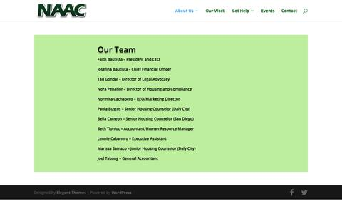 Screenshot of Team Page naac.org - Our Team | National Asian American Coalition (NAAC) - captured Oct. 1, 2018