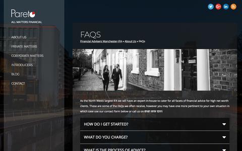 Screenshot of FAQ Page paretofp.co.uk - FAQs - Pareto Financial Planning - Financial Advice Help - captured March 25, 2018