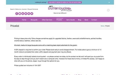 Screenshot of Pricing Page mybuttonbouquet.com - Pricelist - Nic's Button Buds - captured Oct. 6, 2014