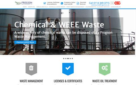 Screenshot of Home Page frogsons.co.uk - Waste Management Services | Oil, Chemical, Paint, Spill Management - captured Oct. 14, 2017
