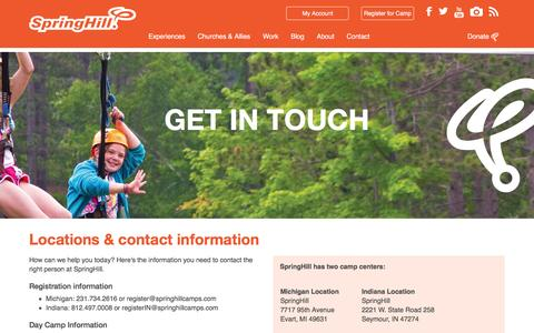 Screenshot of Contact Page springhillcamps.com - Contact SpringHill - captured Jan. 12, 2016