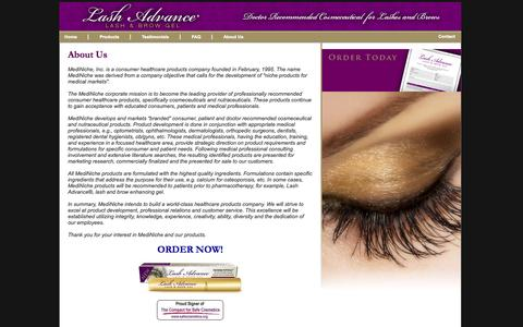 Screenshot of About Page lashadvance.com - About Lash Advance® by MediNiche, Inc. - captured Sept. 30, 2014