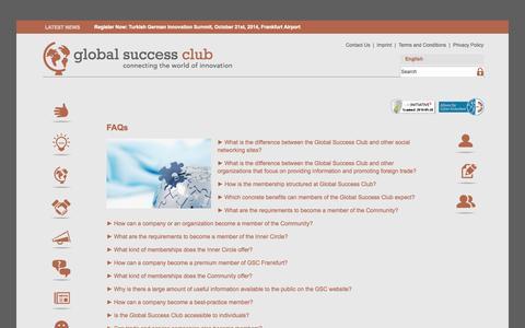 Screenshot of FAQ Page globalsuccess-club.net - Home - Global Success - captured Sept. 30, 2014