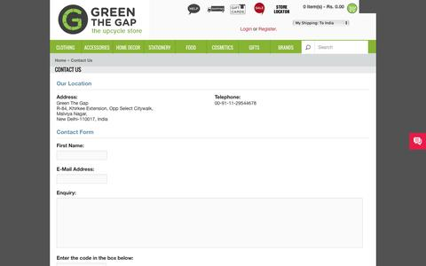 Screenshot of Contact Page greenthegap.com - Contact Us - captured Sept. 30, 2014