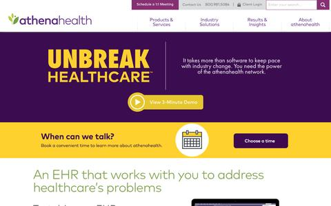 Screenshot of Home Page athenahealth.com - athenahealth | It's Time to Unbreak Healthcare - captured April 11, 2017