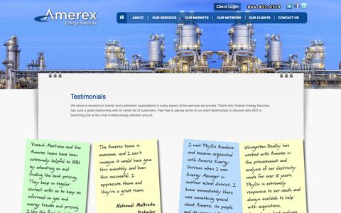 Screenshot of Testimonials Page amerexenergyservices.com - Amerex Energy Services - captured Sept. 30, 2014