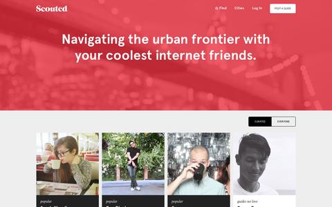 Screenshot of Home Page scouted.in - Scouted · Navigating the urban frontier with your coolest internet friends. - captured Jan. 26, 2015