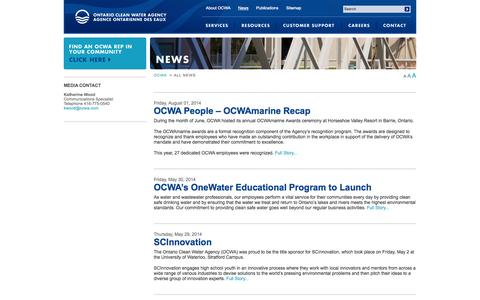 Screenshot of Press Page ocwa.com - Ontario Clean Water Agency | Home | Ontario Clean Water Agency - captured Oct. 7, 2014
