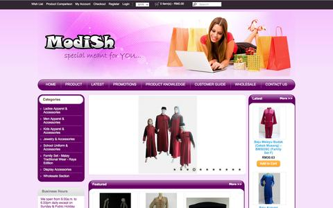 Screenshot of Home Page modish.com.my - Baju Kurung & Baju Melayu | Malaysia Online Boutique - captured March 13, 2017